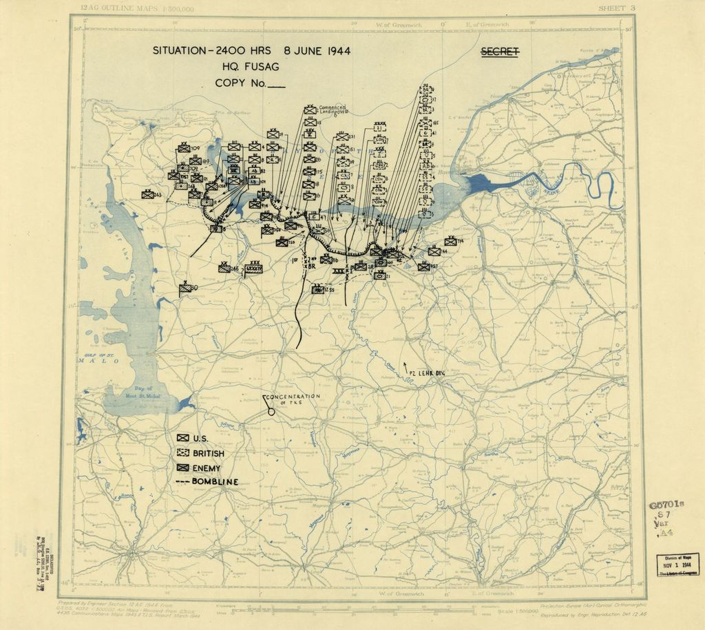 [June 8, 1944], HQ Twelfth Army Group situation map.