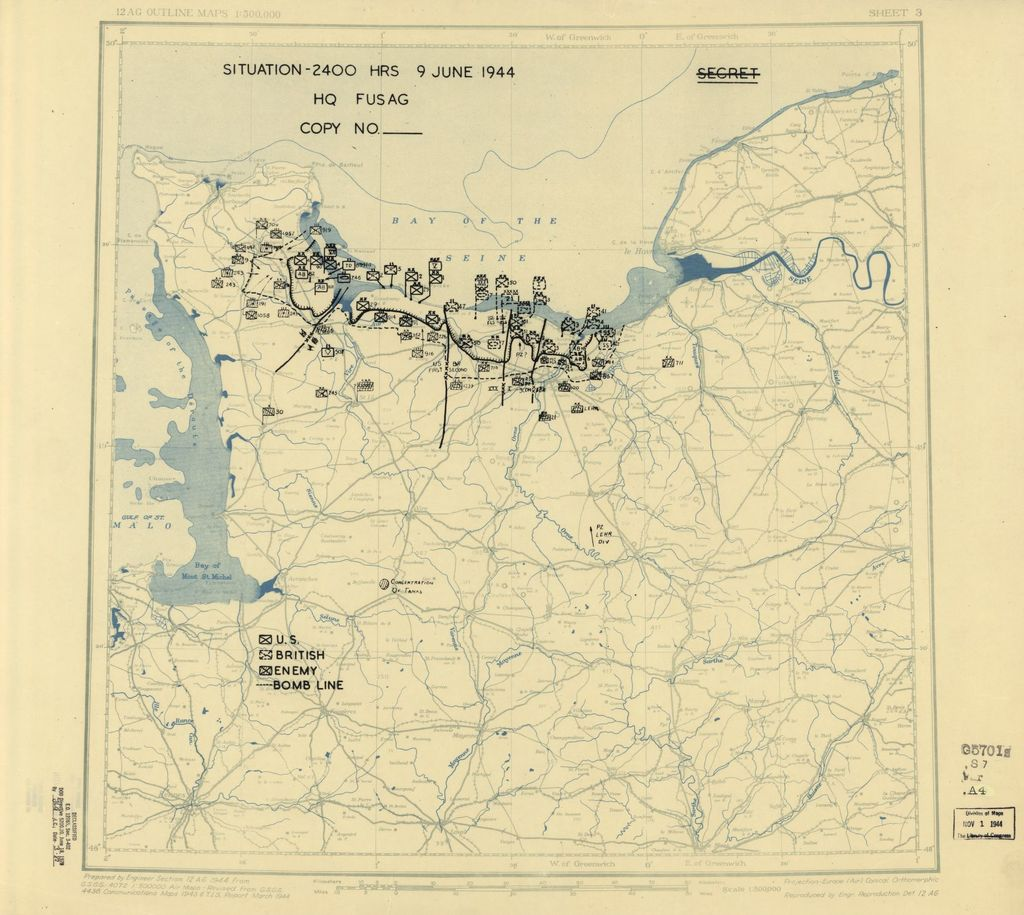[June 9, 1944], HQ Twelfth Army Group situation map.