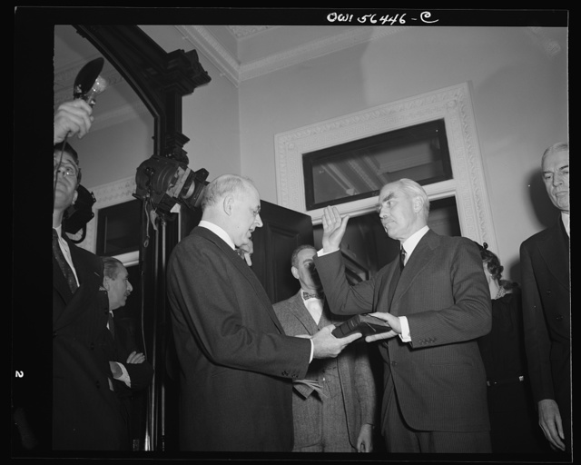 Justice Reed administering oath of office to Under-Secretary of State Joseph C. Grew
