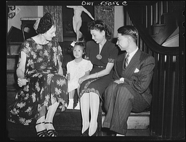 Left to right: Lady Catherine Sansom, wife of Sir George Sansom, British Minister, British Embassy, Washington D.C.; Niyana Pramoj, three year old daughter of Thai Minister; Madam and Minister Mom Rajawongae Seni Pramoj, Thailand Minister
