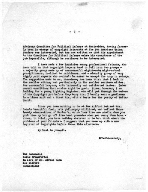 Letter from Archibald MacLeish to Felix Frankfurter, July 22, 1944