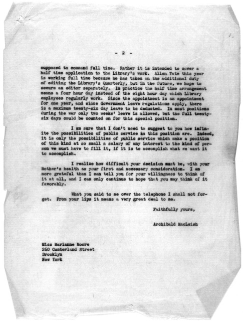 Letter from Archibald MacLeish to Marianne Moore, March 10, 1944