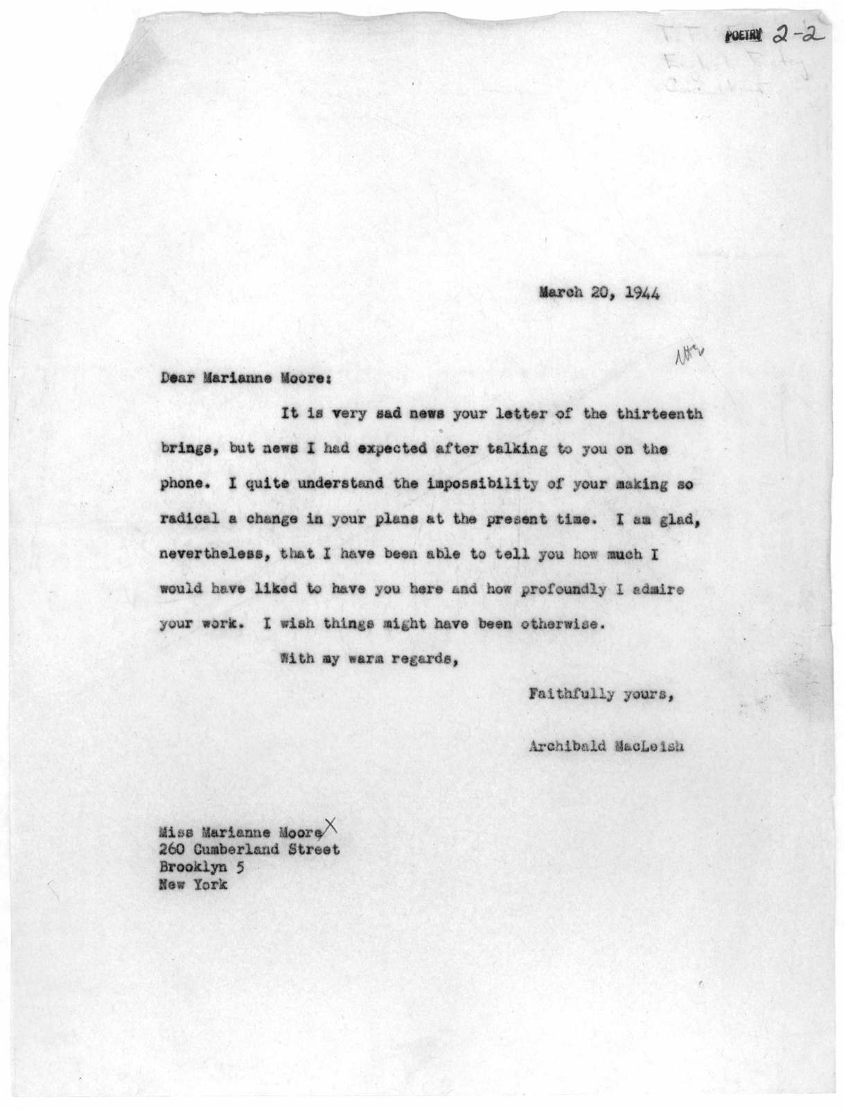 Letter from Archibald MacLeish to Marianne Moore, March 20, 1944