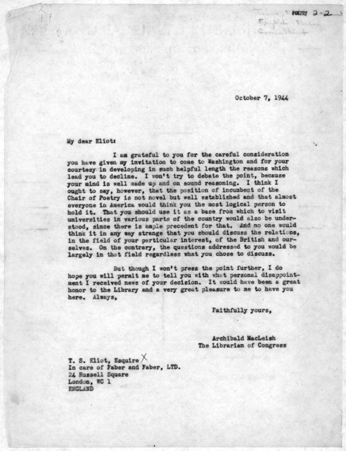 Letter from Archibald MacLeish to T. S. Eliot, October 7, 1944