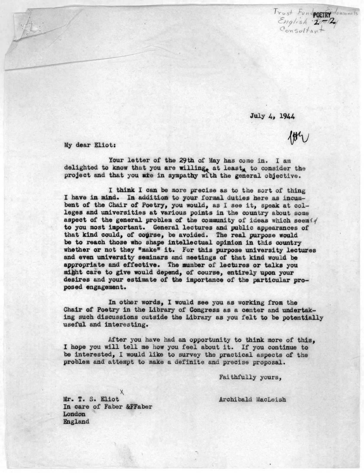 Letter from Archibald MacLeish to T.S. Eliot, July 4, 1944