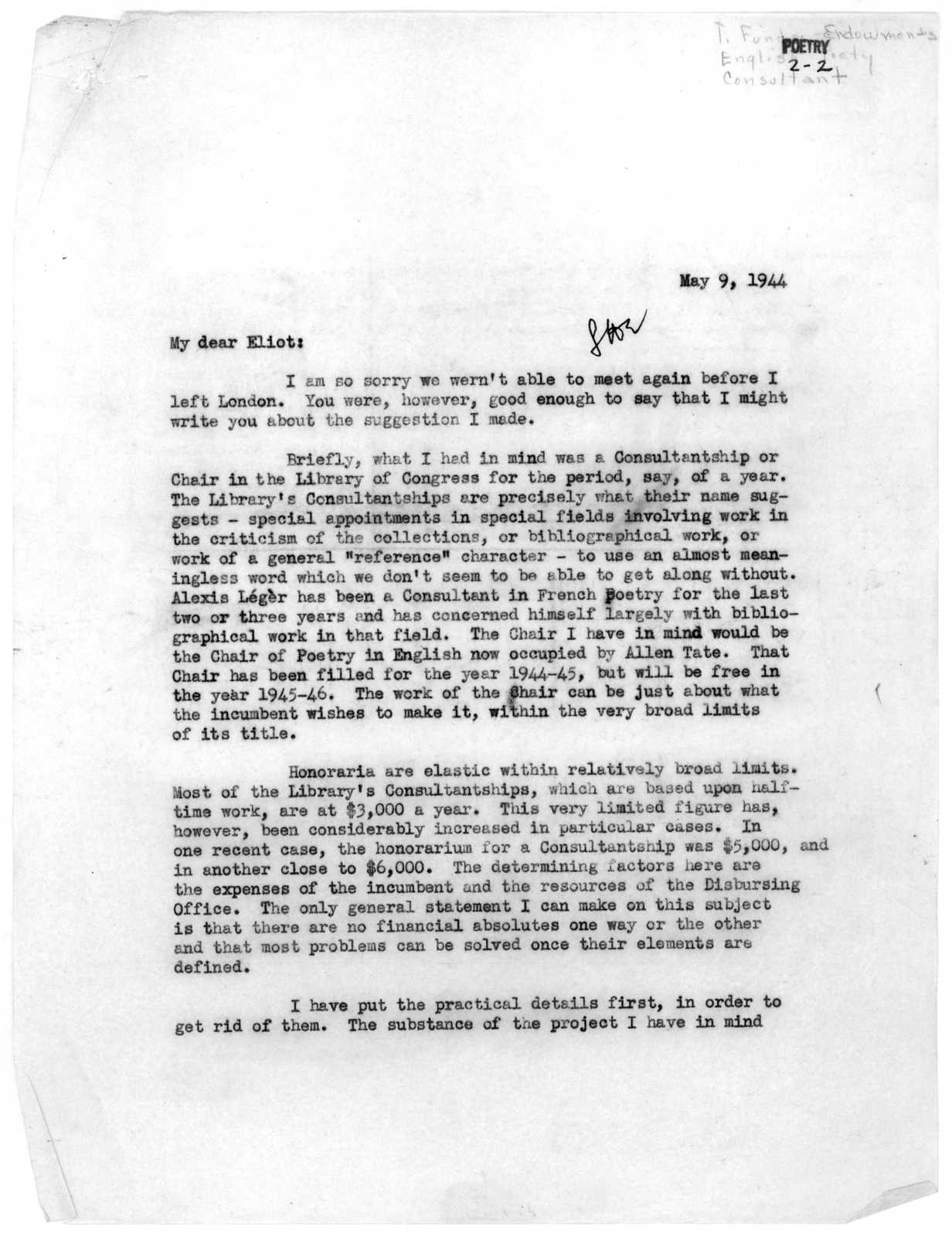 Letter from Archibald MacLeish to T.S. Eliot, May 9, 1944