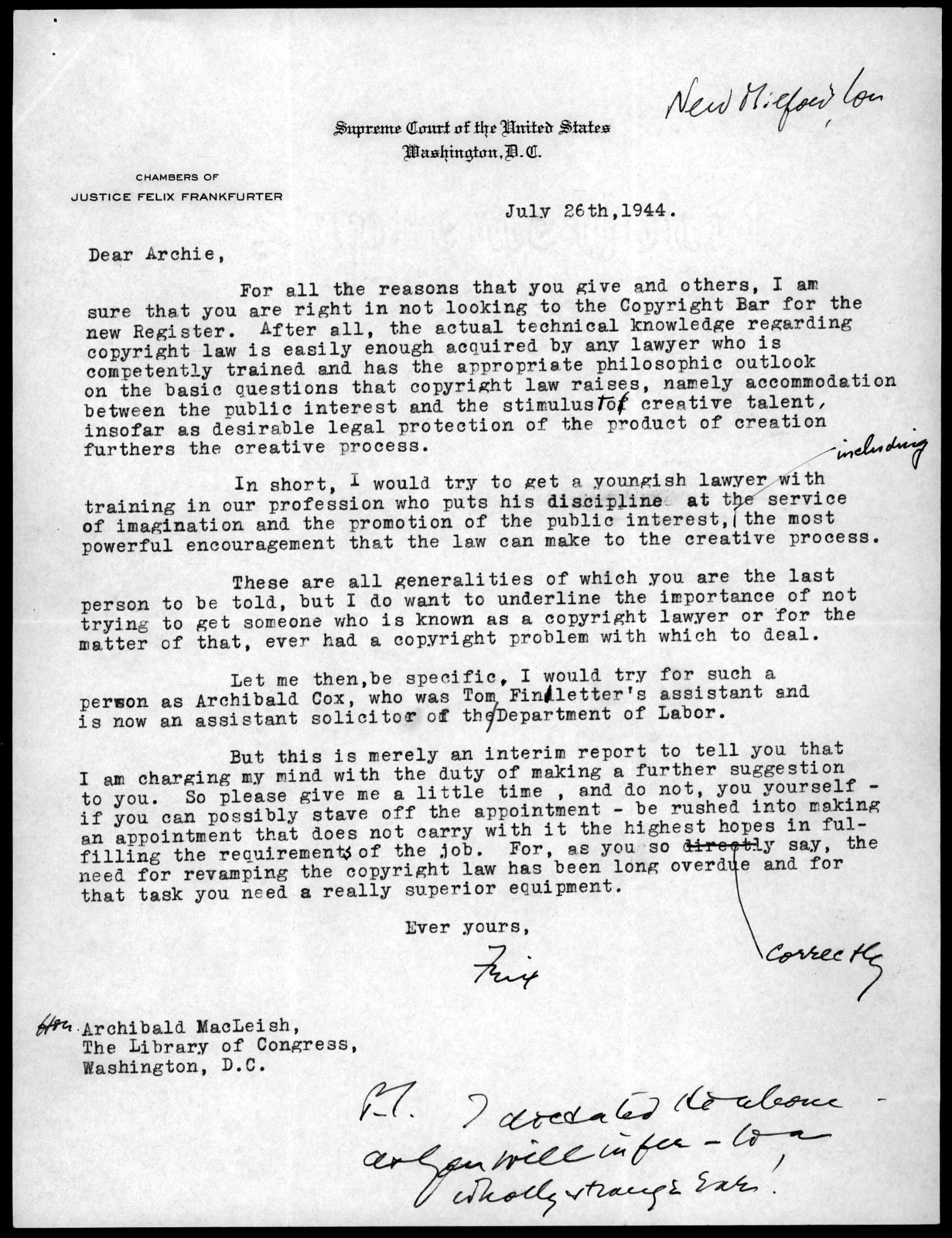 Letter from Felix Frankfurter to Archibald MacLeish, July 26, 1944