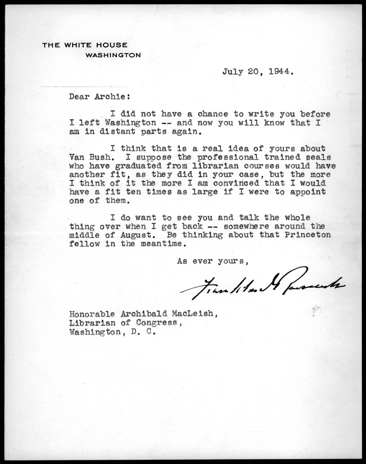 Letter from Franklin D. Roosevelt to Archibald MacLeish, July 20, 1944