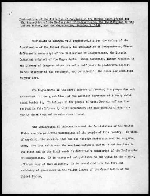 Memorandum from Archibald MacLeish to the Marine Guard, October 1, 1944