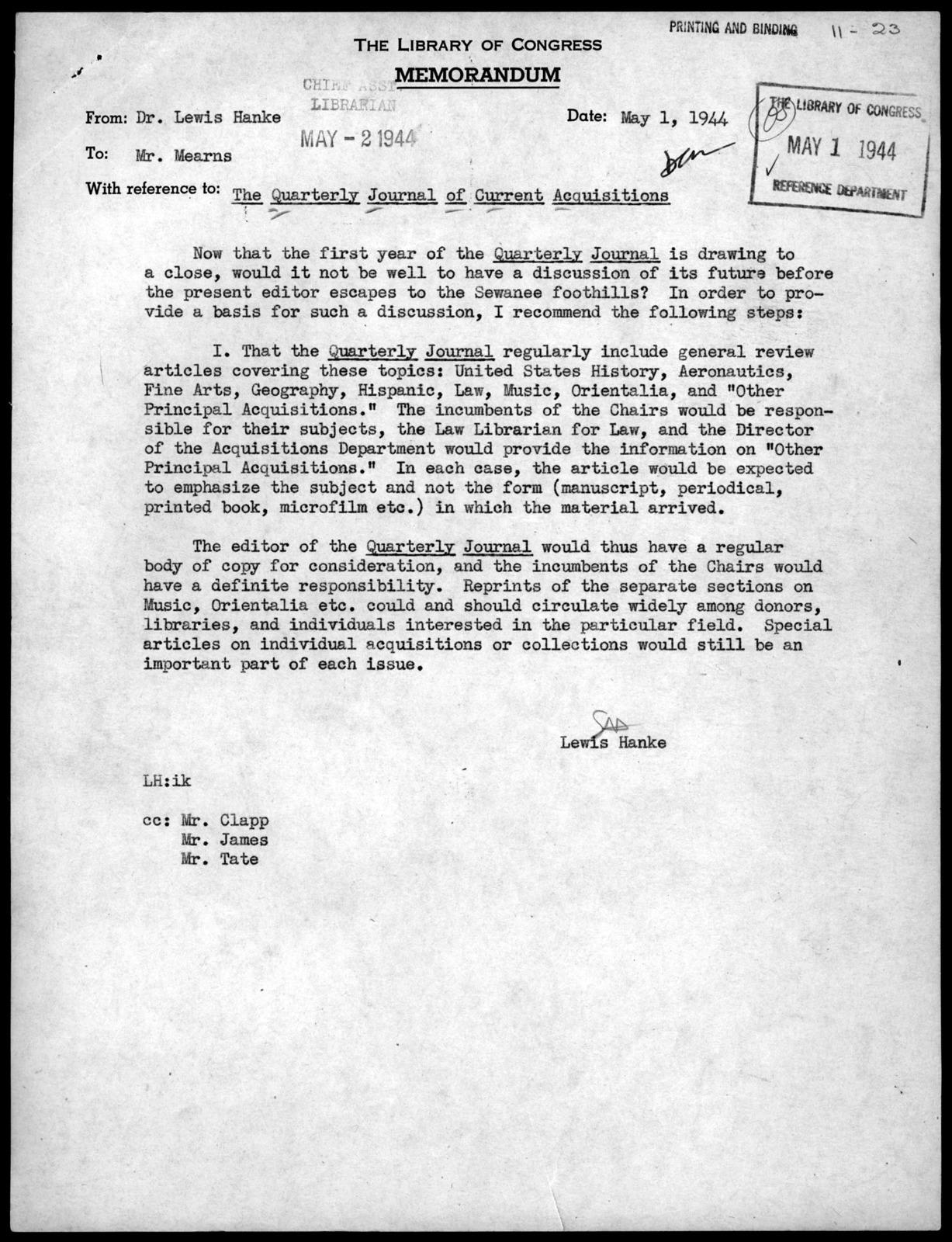 Memorandum from Lewis Hanke to David C. Mearns, May 1, 1944