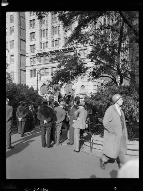 New York, New York. A crowd on D-day in Madison Square