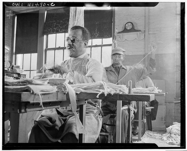 New York, New York. Blind men sewing mops by hand at the Lighthouse, an institution for the blind, at 111 East Fifty-ninth Street
