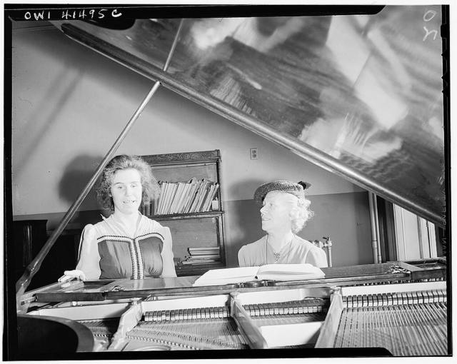 New York, New York. Dorothy Robert taking her singing lesson from Miss Campbell, an instructor at the Lighthouse, an institution for the blind, at 111 East Fifty-ninth Street