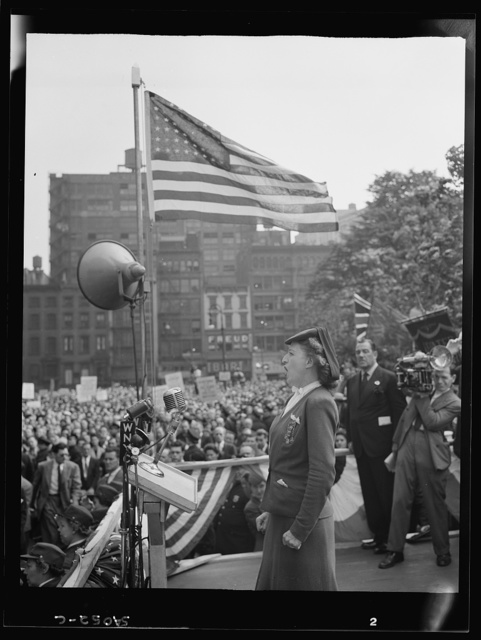 New York, New York. June 6, 1944. A woman addressing the crowd at the D-day rally at Madison Square
