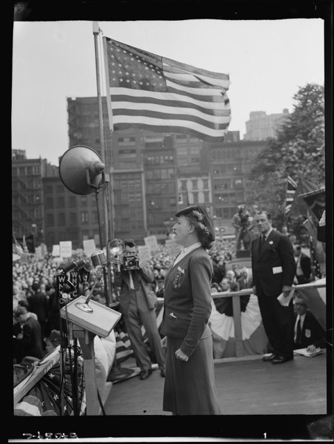 New York, New York. June 6, 1944. D-day rally in Madison Square