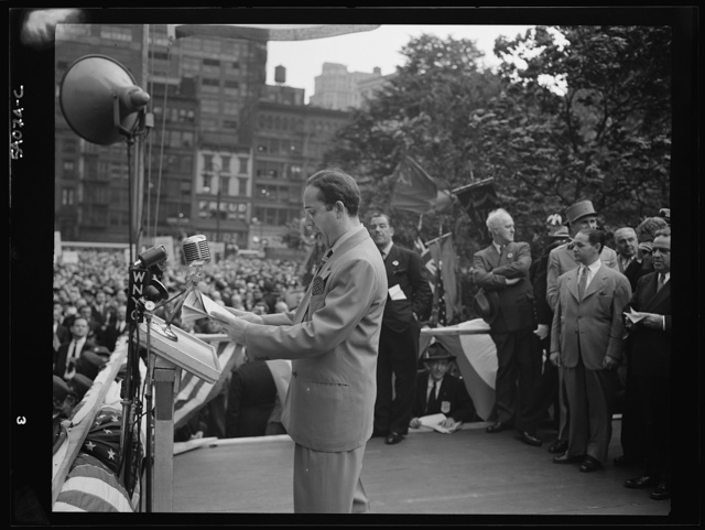 New York, New York. June 6, 1944. Igor Gorin at the D-day rally in Madison Square