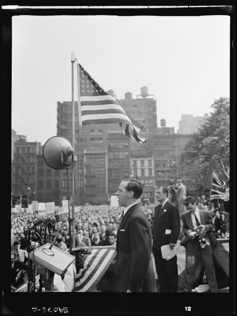 New York, New York. June 6, 1944. John Dudley at the D-day rally in Madison Square