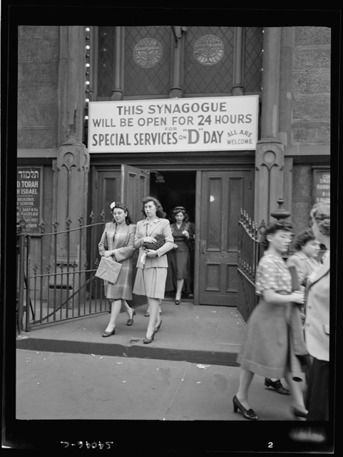 New York, New York. June 6, 1944. Leaving for synagogue on West Twenty-third Street after D-day services
