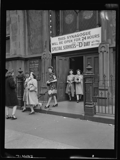 New York, New York. June 6, 1944. Leaving the synagogue on West Twenty-third Street after D-day services
