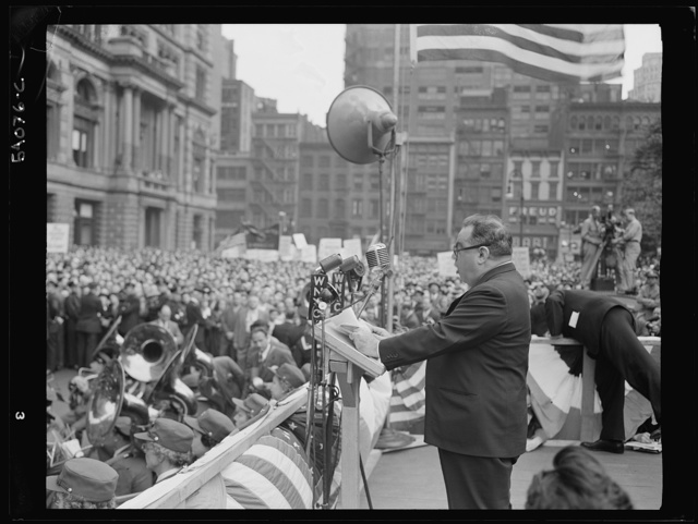 New York, New York. June 6, 1944. Mayor La Guardia at the D-day rally in Madison Square