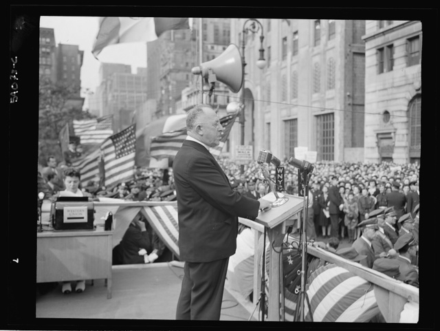New York, New York. June 6, 1944. Monsignor William E. Cashin at the D-day rally in Madison Square