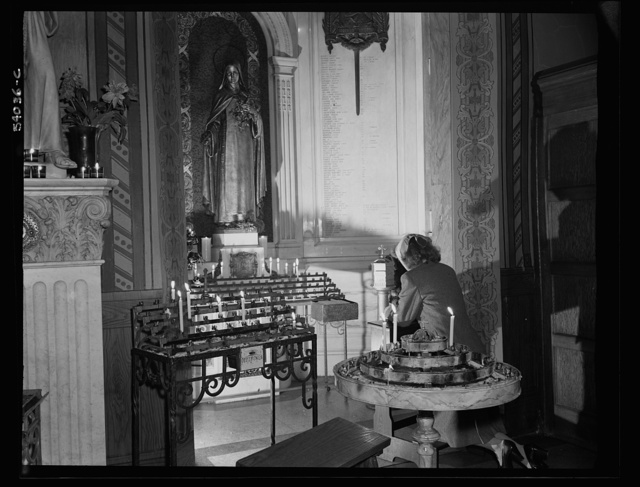 New York, New York. June 6, 1944. Noon mass at Saint Vincent de Paul's Church on D-day