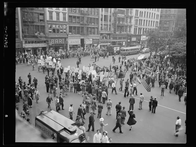 New York, New York. June 6, 1944. Part of the parade on D-day, Madison Square
