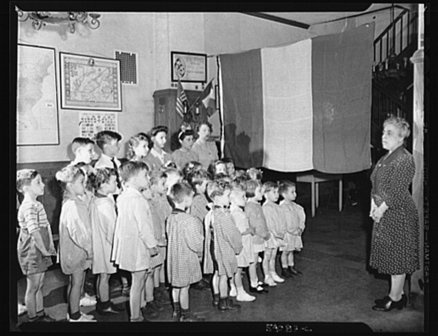 New York, New York. June 6, 1944. Preschool age children at L'Ecole maternelle francaise on D-day
