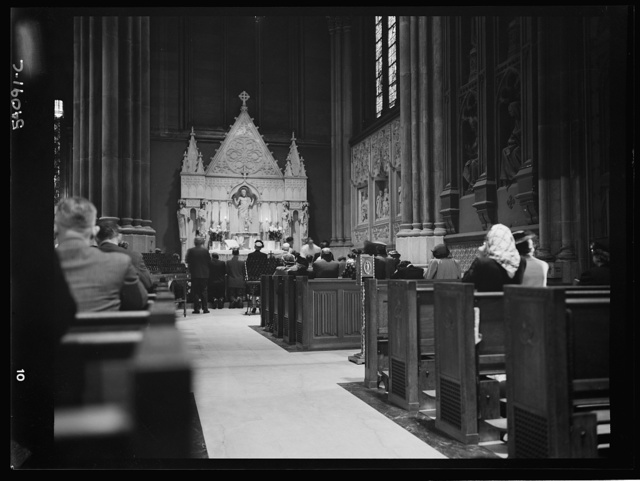 New York, New York. June 6, 1944. Seven o'clock mass on D-day in the Lady Chapel, Saint Patrick's Cathedral