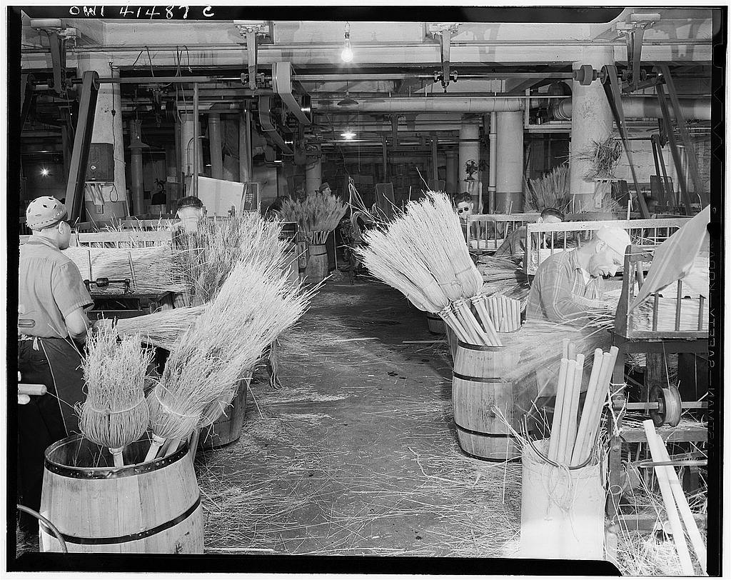 New York, New York. Making brooms for the Army and Navy at the Lighthouse, an institution for the blind, at 111 East Fifty-ninth Street