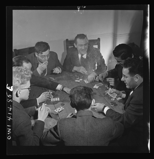 New York, New York. Playing cards, using Braille playing cards, at the Lighthouse, an institution for the blind, at 111 East Fifty-ninth Street