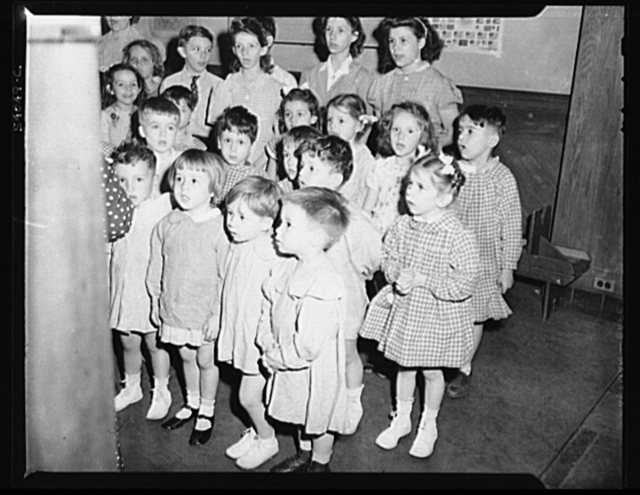 New York, New York. Preschool age children at L'Ecole maternelle francais on D-day