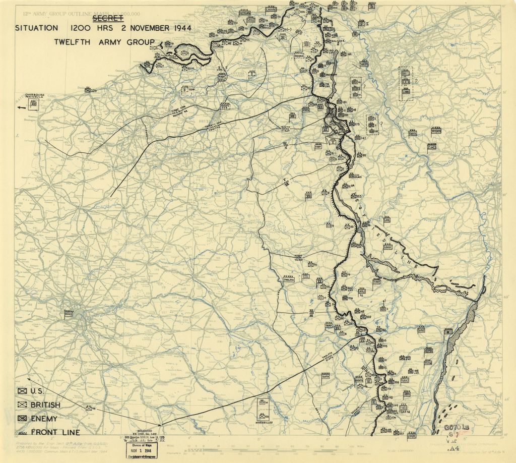 [November 2, 1944], HQ Twelfth Army Group situation map.