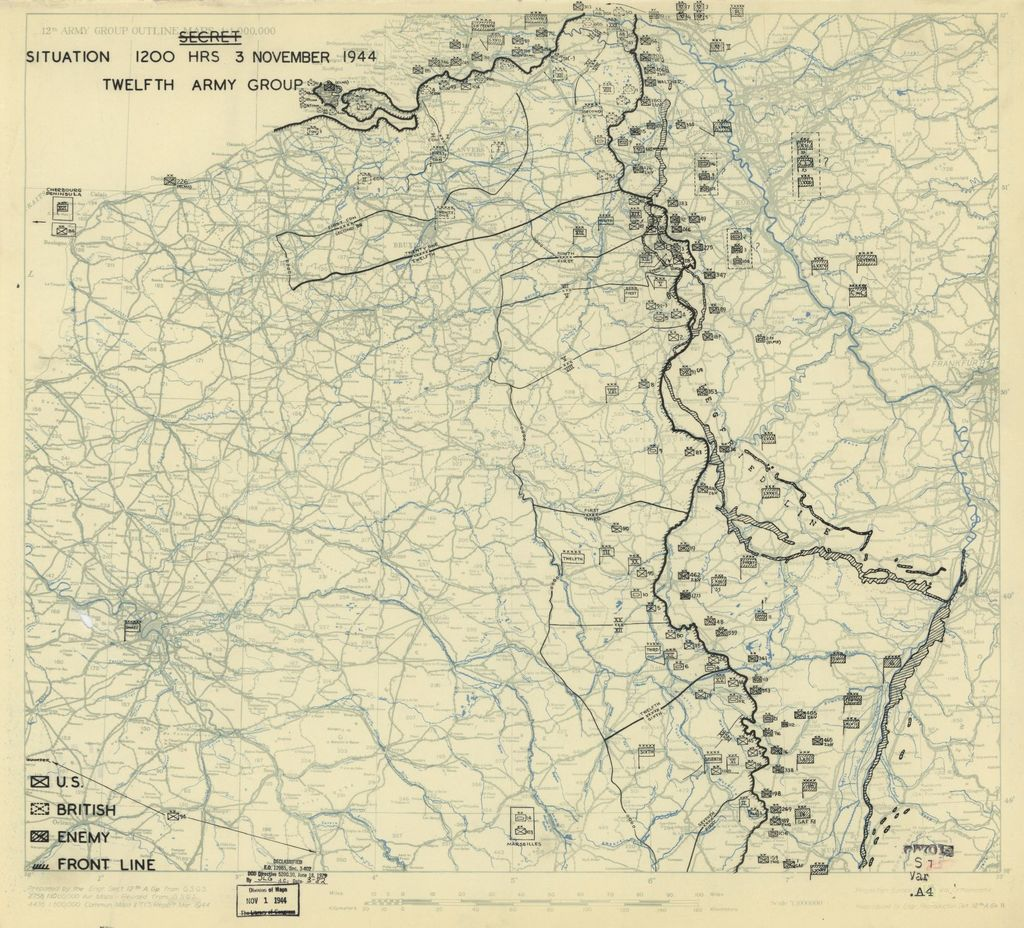[November 3, 1944], HQ Twelfth Army Group situation map.