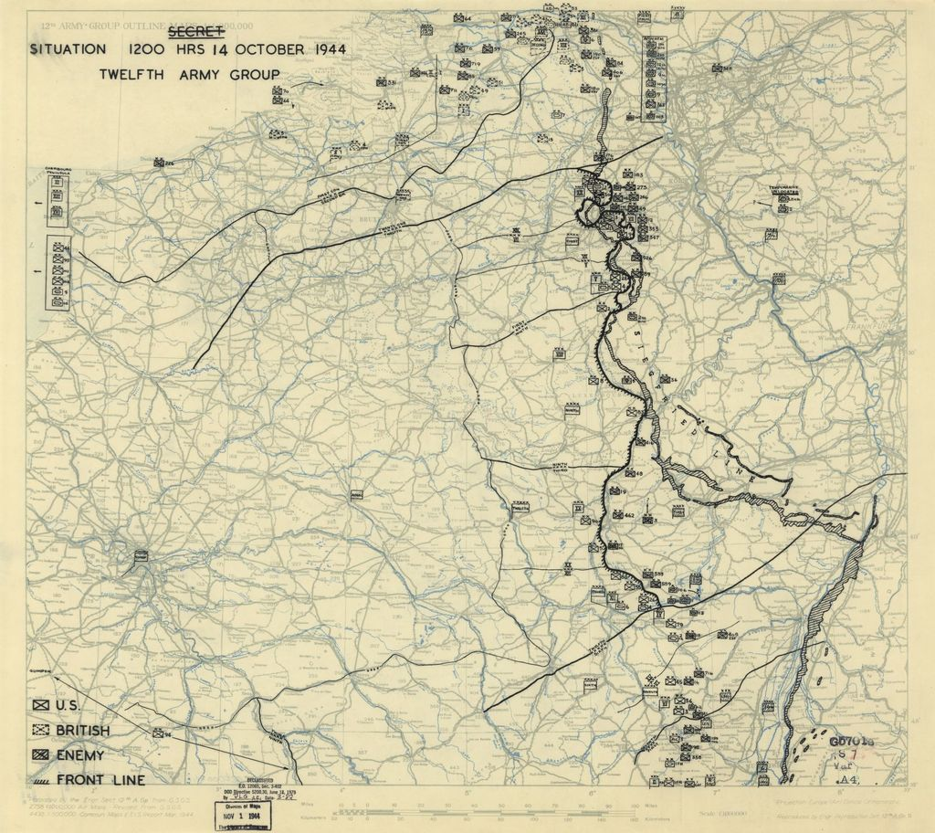 [October 14, 1944], HQ Twelfth Army Group situation map.