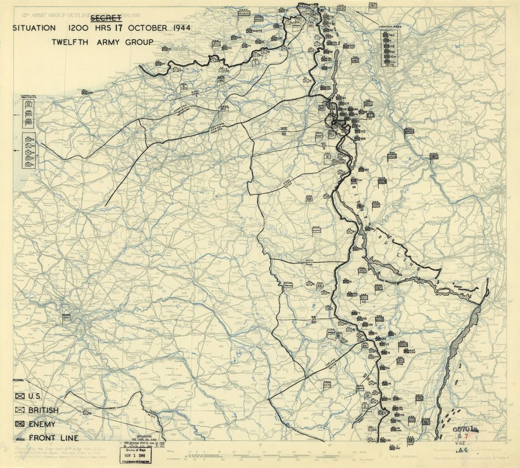[October 17, 1944], HQ Twelfth Army Group situation map.