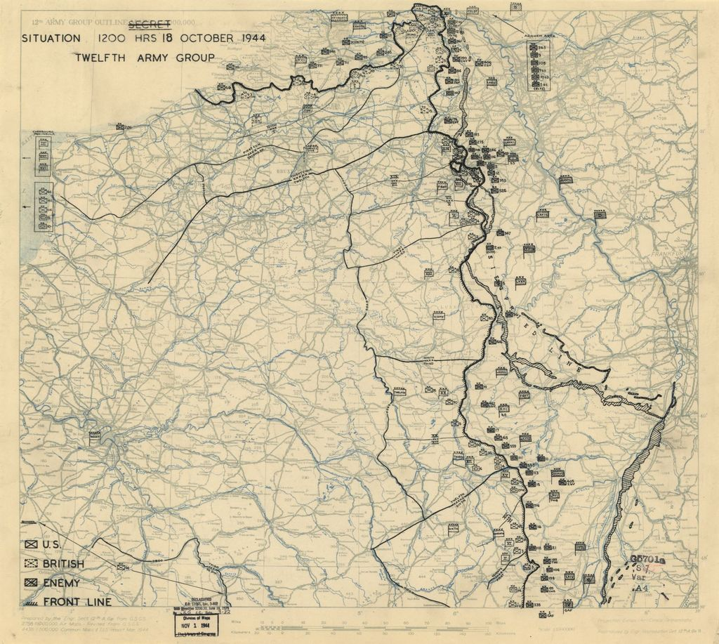[October 18, 1944], HQ Twelfth Army Group situation map.