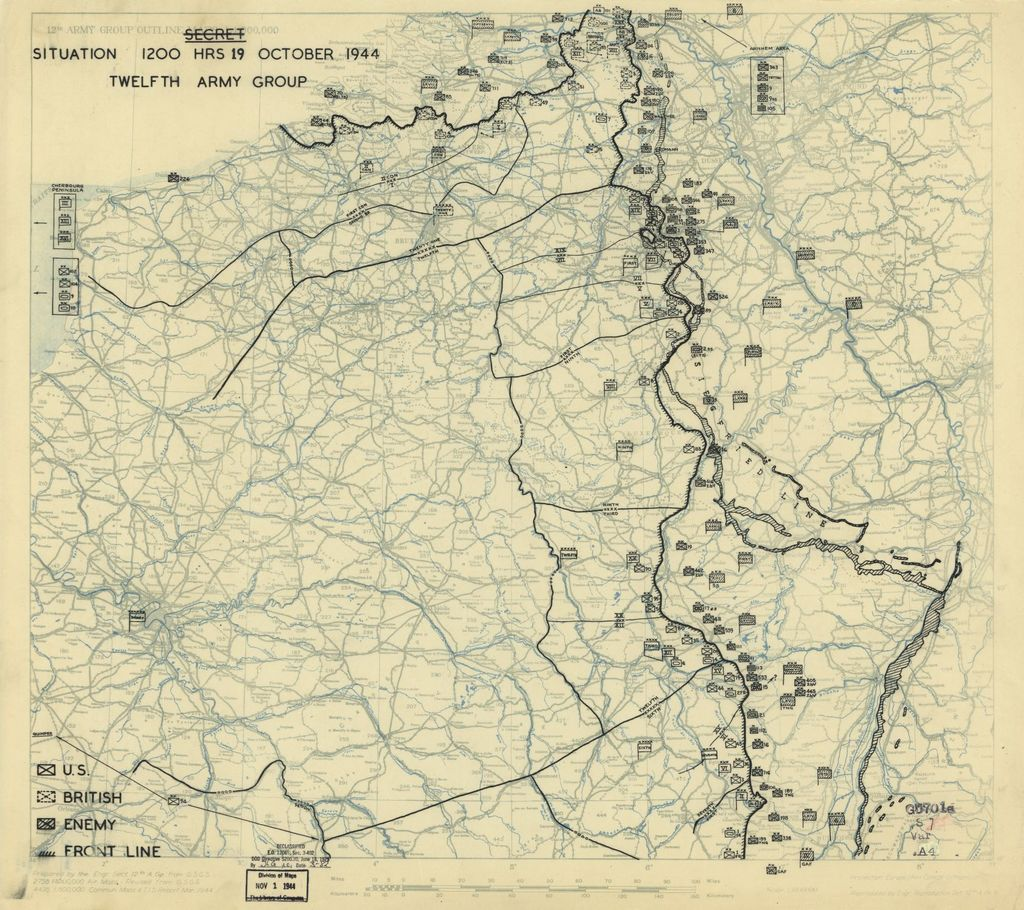 [October 19, 1944], HQ Twelfth Army Group situation map.
