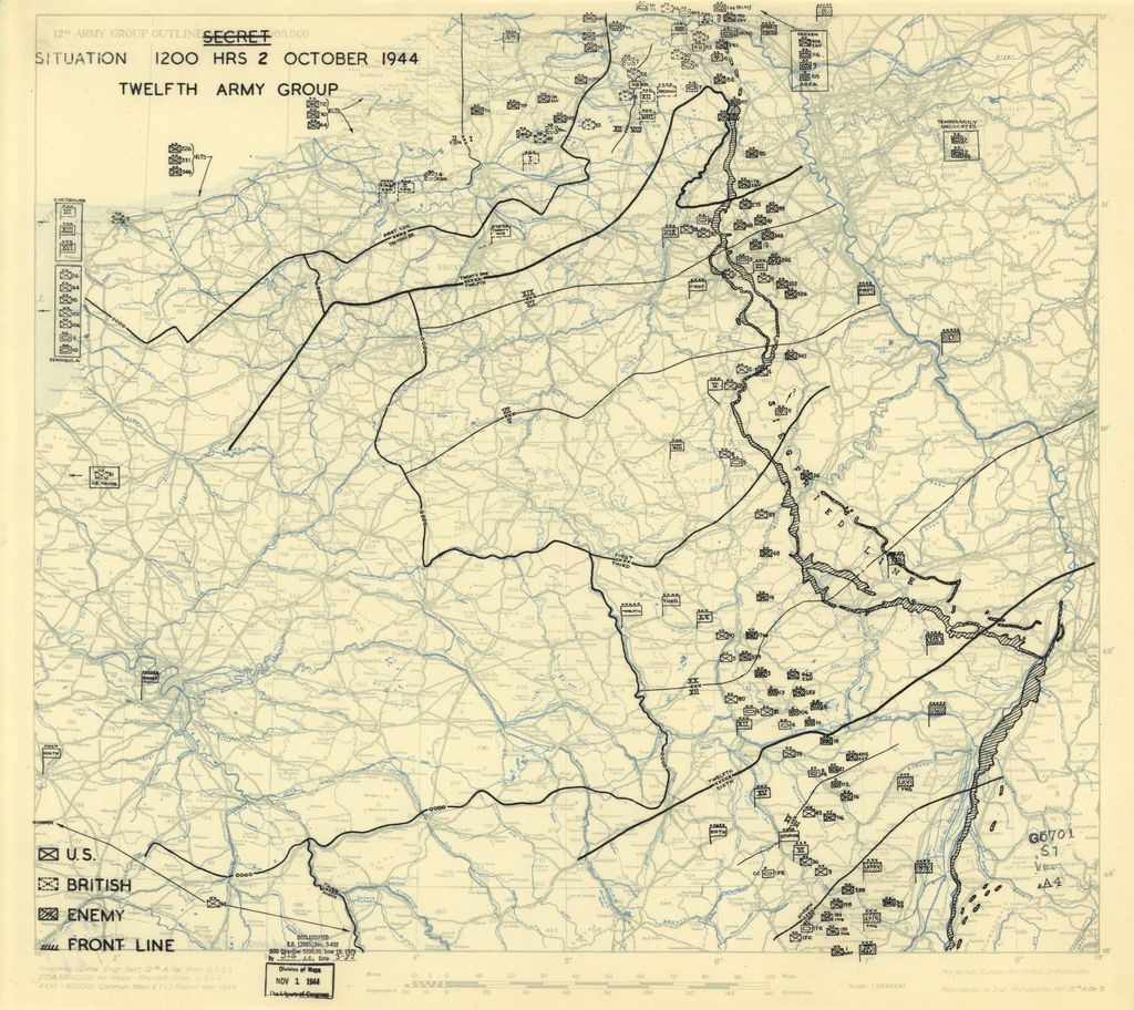 [October 2, 1944], HQ Twelfth Army Group situation map.