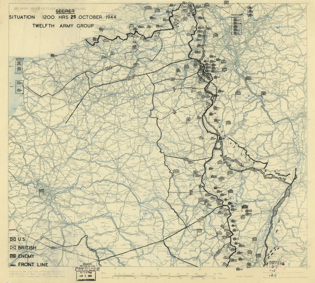 [October 25, 1944], HQ Twelfth Army Group situation map.