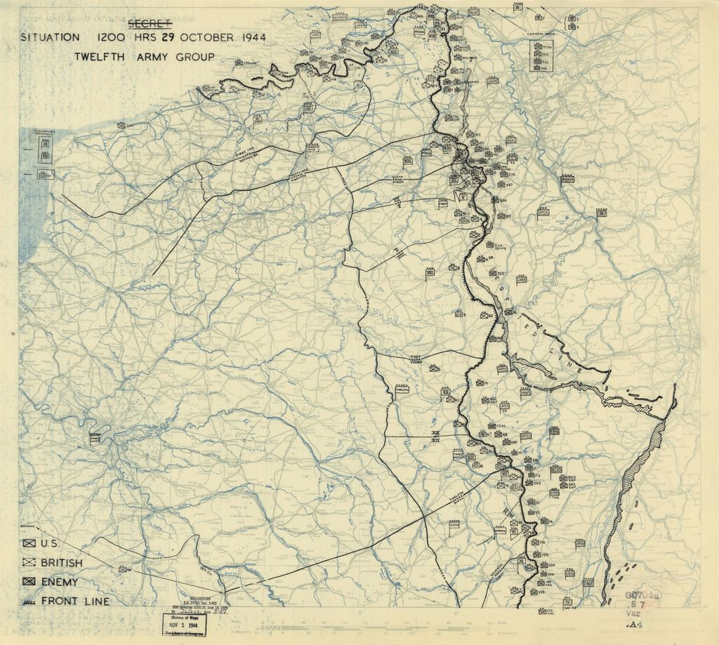 [October 29, 1944], HQ Twelfth Army Group situation map.