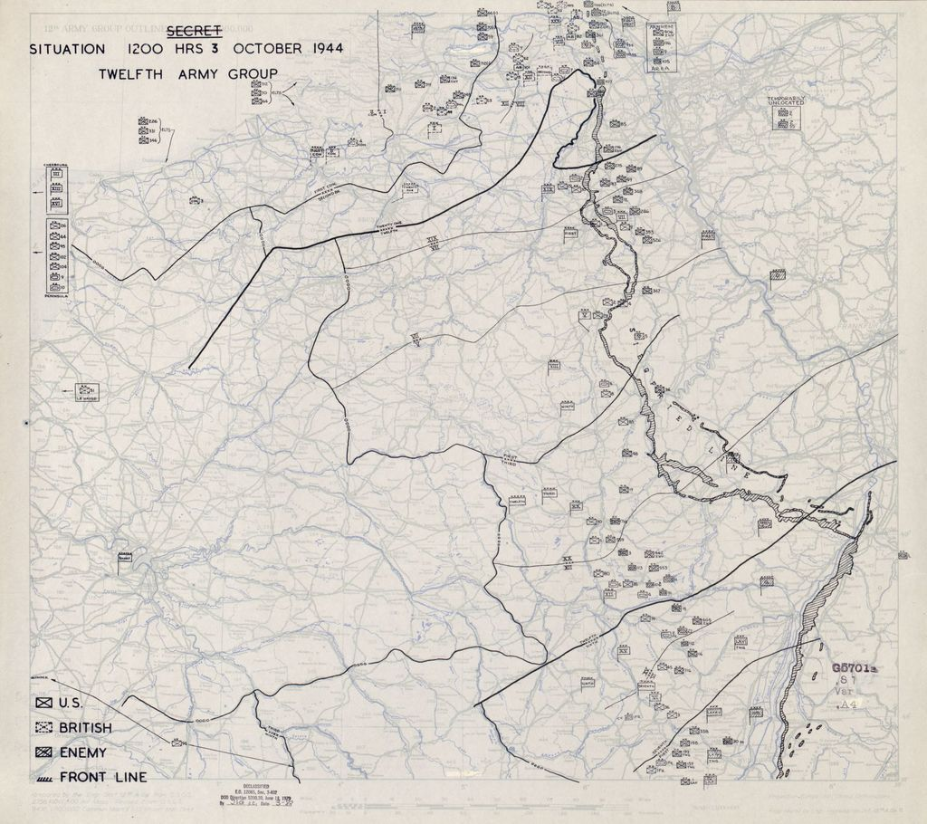 [October 3, 1944], HQ Twelfth Army Group situation map.