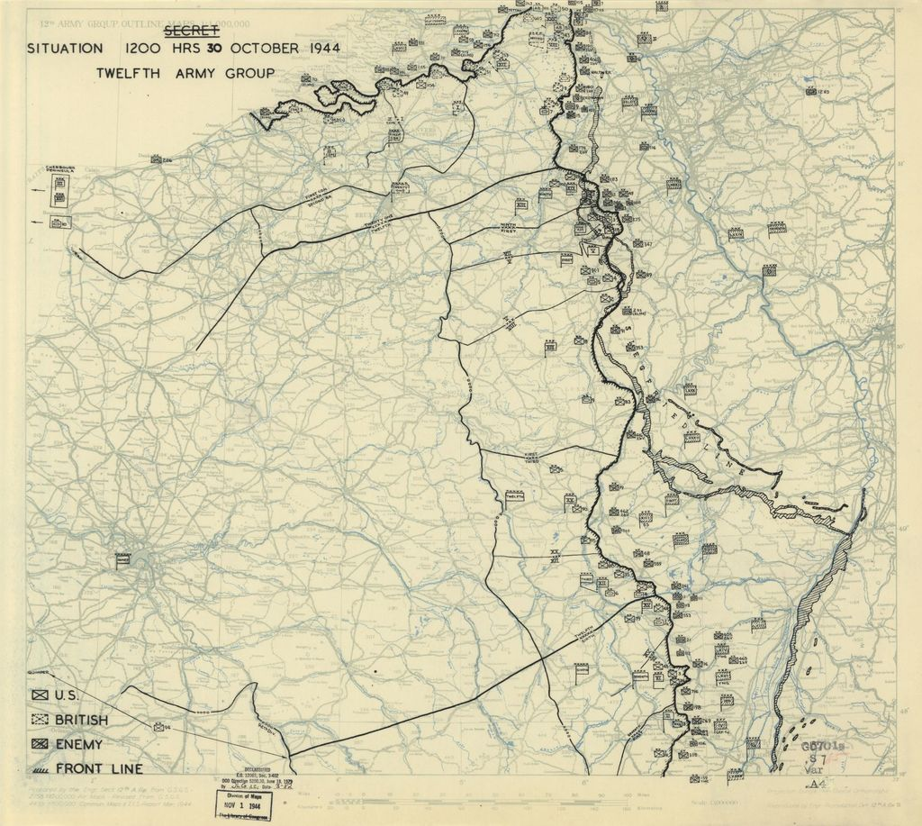 [October 30, 1944], HQ Twelfth Army Group situation map.