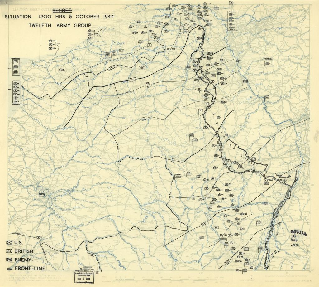[October 5, 1944], HQ Twelfth Army Group situation map.