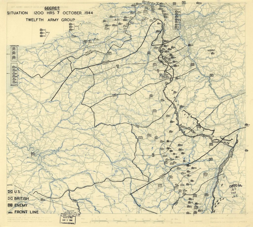 [October 7, 1944], HQ Twelfth Army Group situation map.