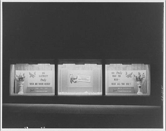 Potomac Electric Power Co. substations. Substation no. 38 window display: Conserve critical war resources