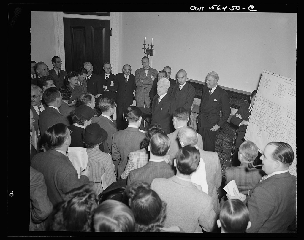 Secretary of State Edward Stettinius at press conference explains the new organization and duties of the Under-Secretary and the assistant secretaries