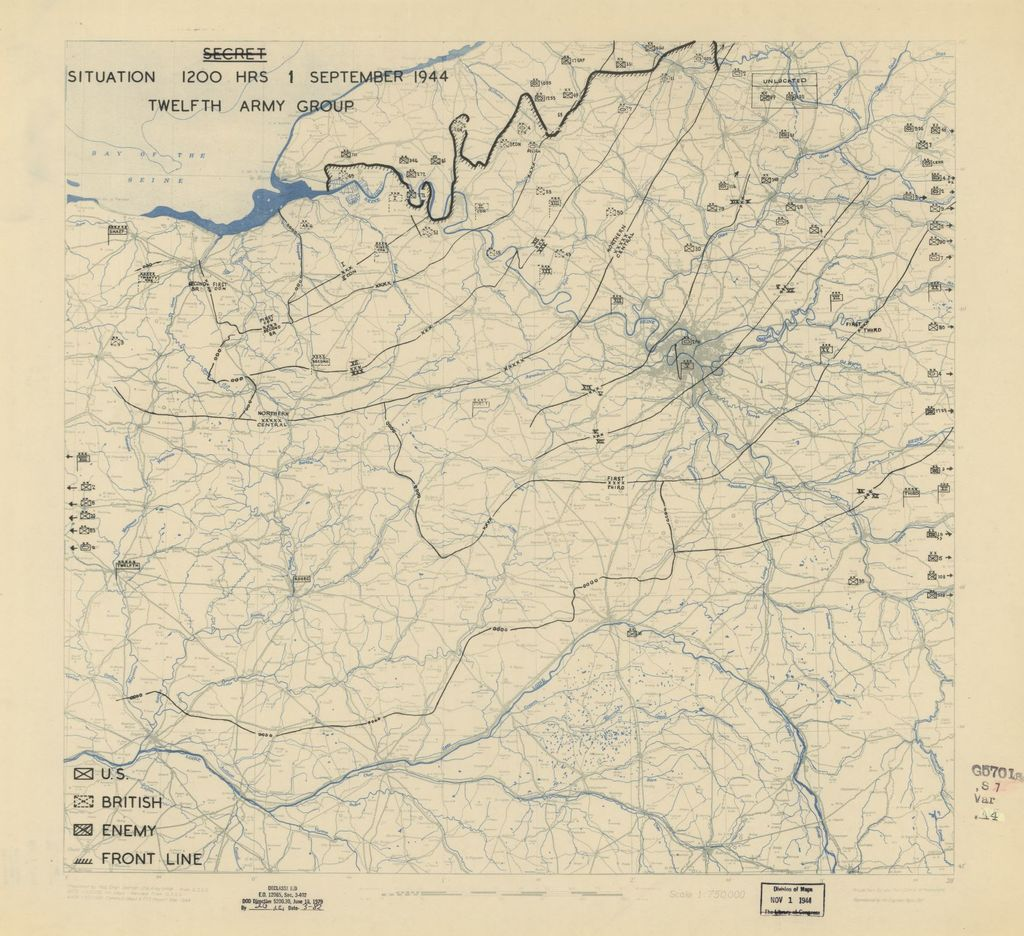 [September 1, 1944], HQ Twelfth Army Group situation map.