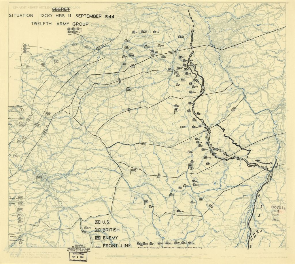 [September 11, 1944], HQ Twelfth Army Group situation map.