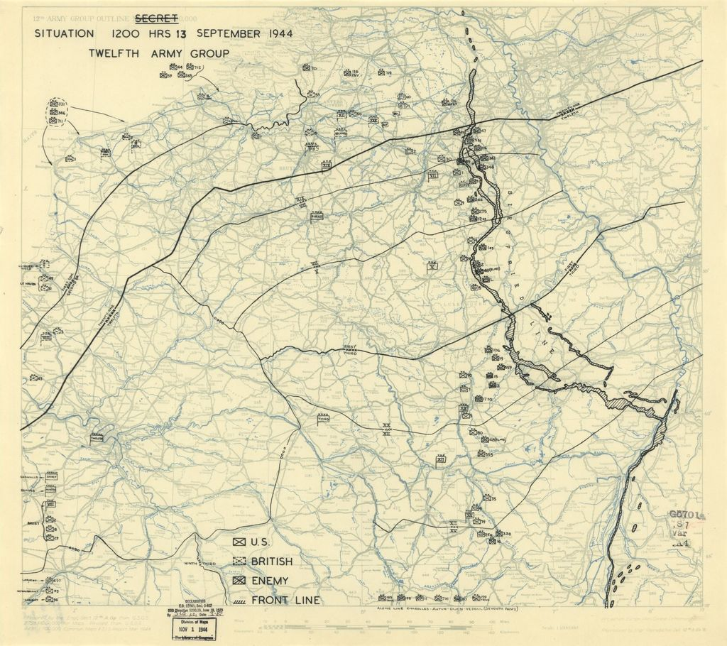 [September 13, 1944], HQ Twelfth Army Group situation map.